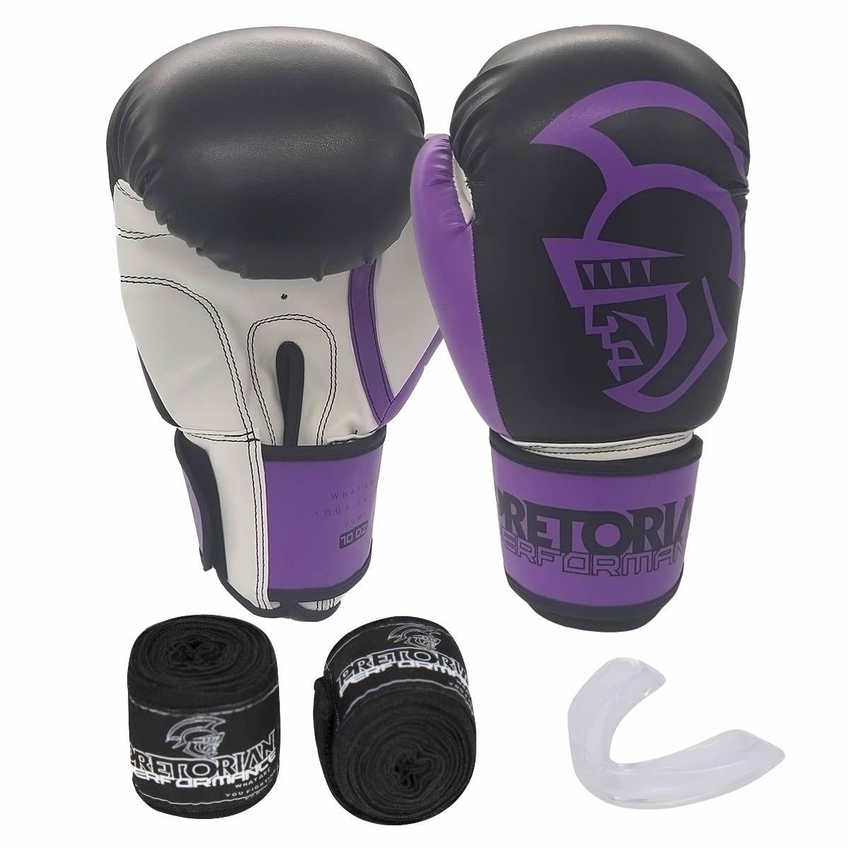 Kit de Boxe Thai Pretorian: Bandagem + Protetor Bucal + Luvas de Boxe Performance - Roxa - 12 / 14 OZ
