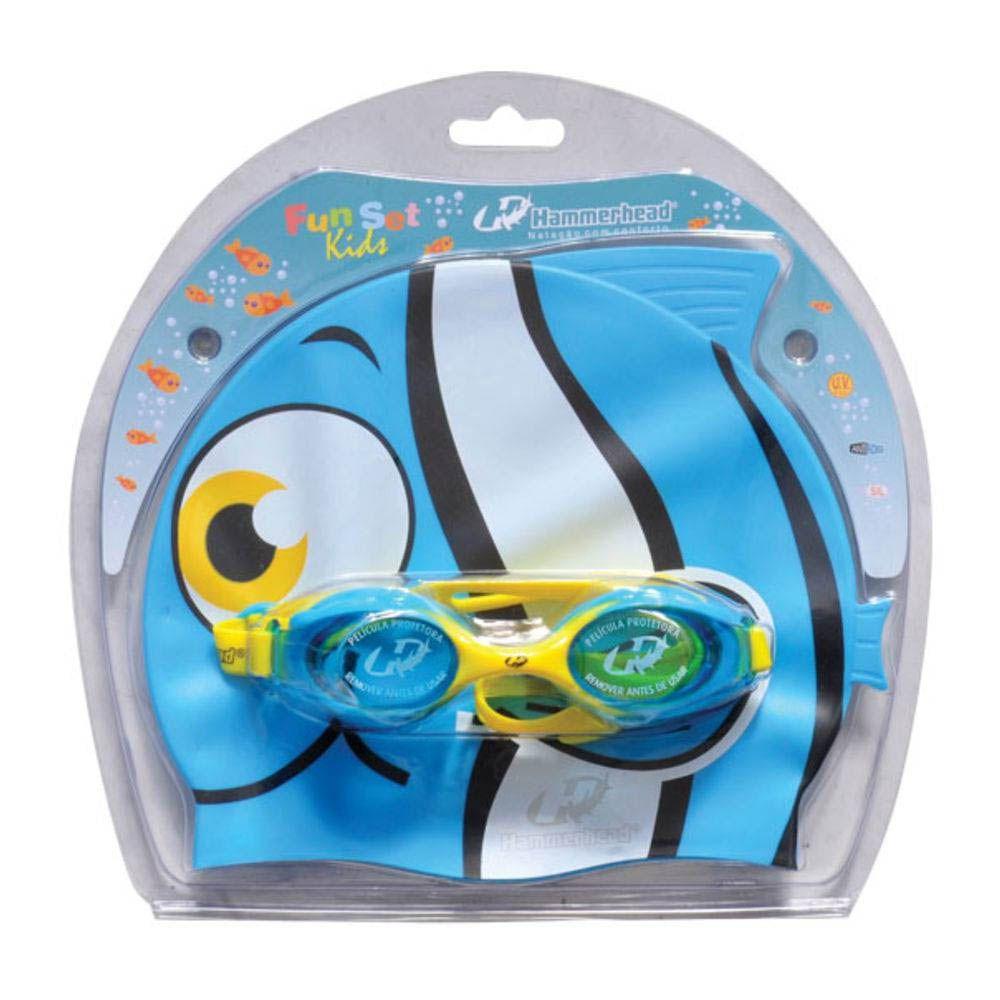 Kit de Natação Hidroginástica - Oculos + Touca - Fun Set Kids - Hammerhead  - Loja do Competidor