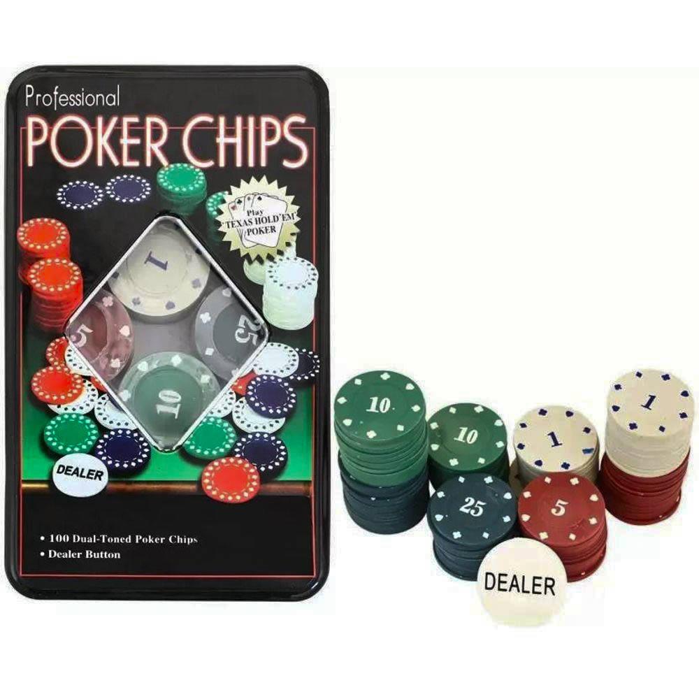 Kit de Poker - 100 Fichas com Numeração - Pentagol