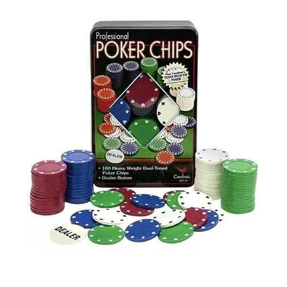 Kit de Poker - 100 Fichas sem Numeração - Pentagol