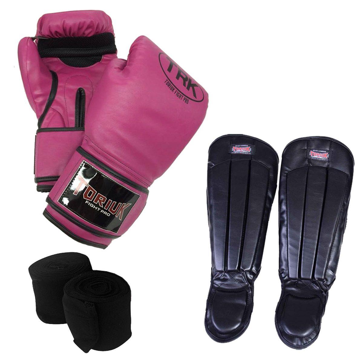 Kit Luvas de Boxe + Bandagem Elástica + Caneleira Anatômica  - Loja do Competidor