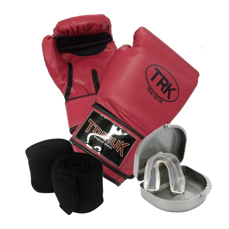 Kit Luvas de Boxe + Bandagem Elastica + Protetor Bucal