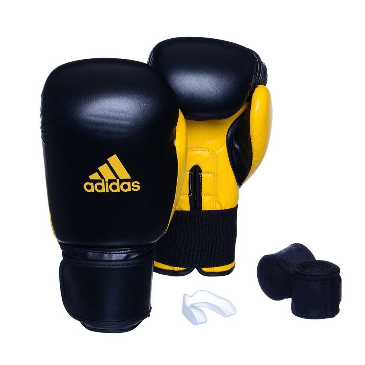 Kit Luvas Boxe / Muay Thai - Adidas Power 100 - Preta / Amarelo - 10/12/14 OZ