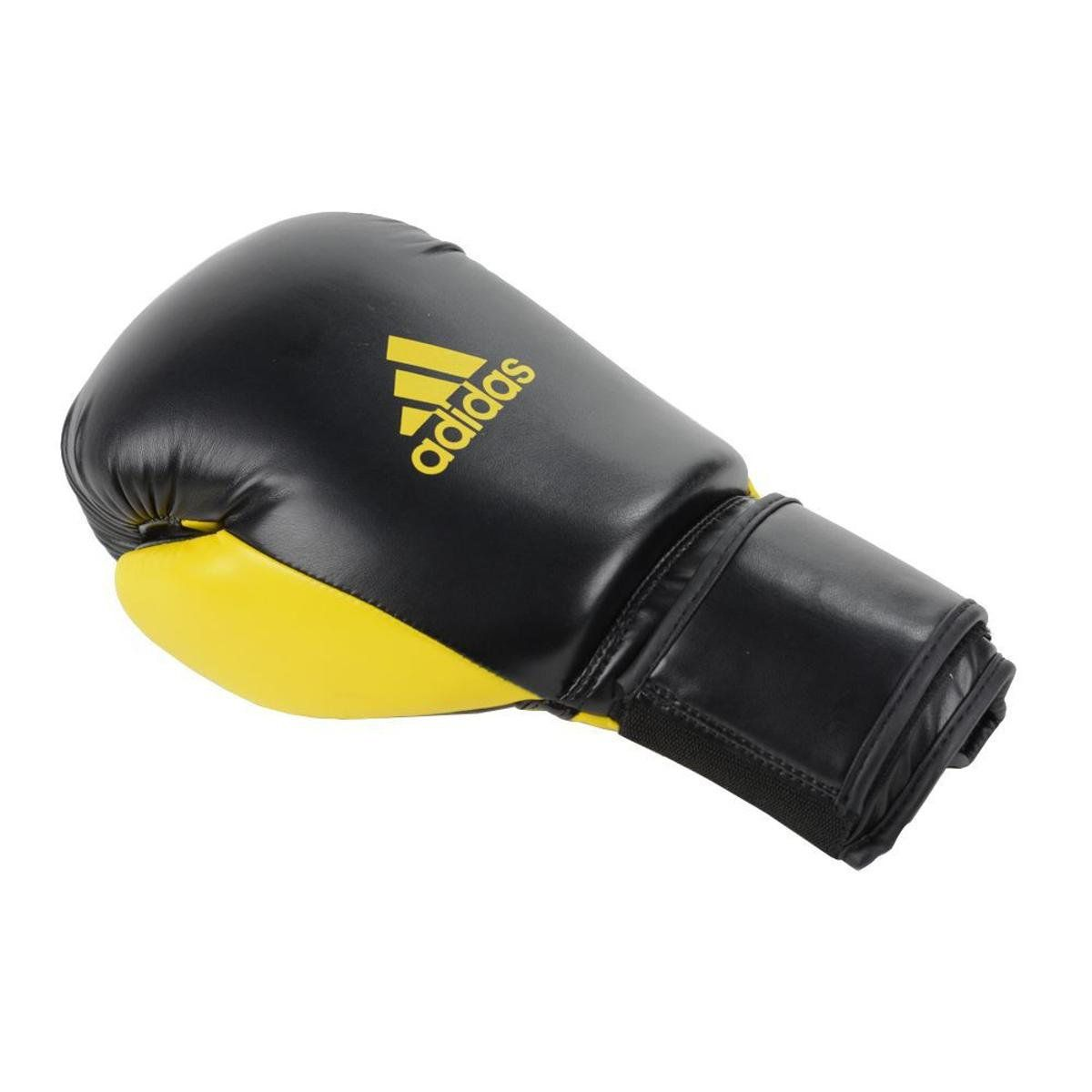 Kit Luvas Boxe / Muay Thai - Adidas Power 100 - Preta / Amarelo - 10/12/14 OZ  - Loja do Competidor