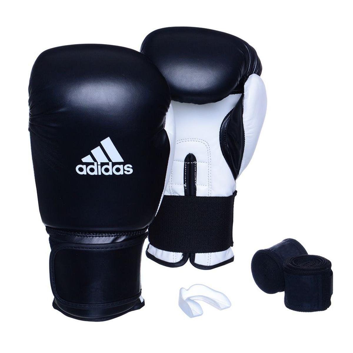 Kit Luvas Boxe / Muay Thai - Adidas Power 100 - Preta / Branca - 10/12/14 OZ