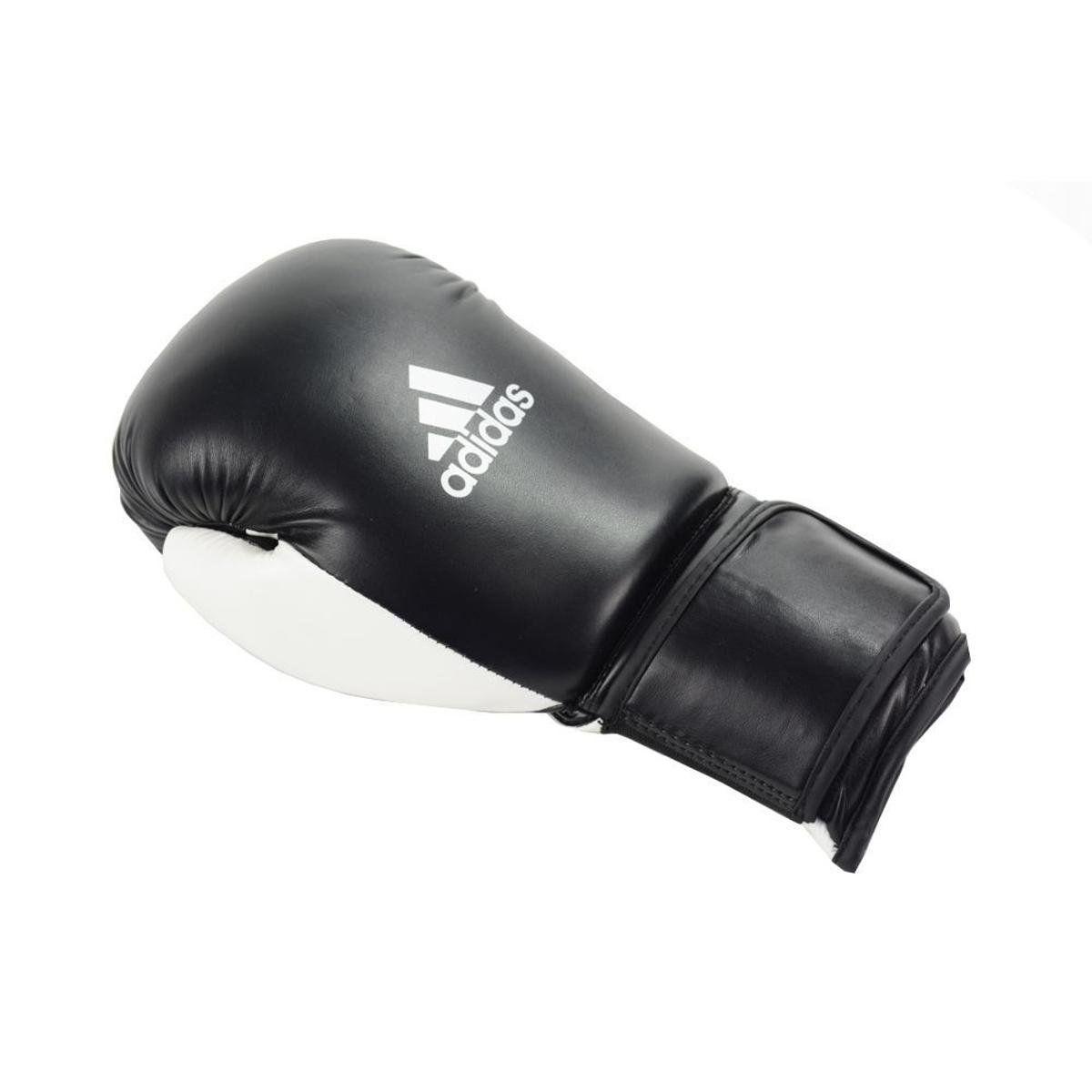 Kit Luvas Boxe / Muay Thai - Adidas Power 100 - Preta / Branca - 10/12/14 OZ  - Loja do Competidor