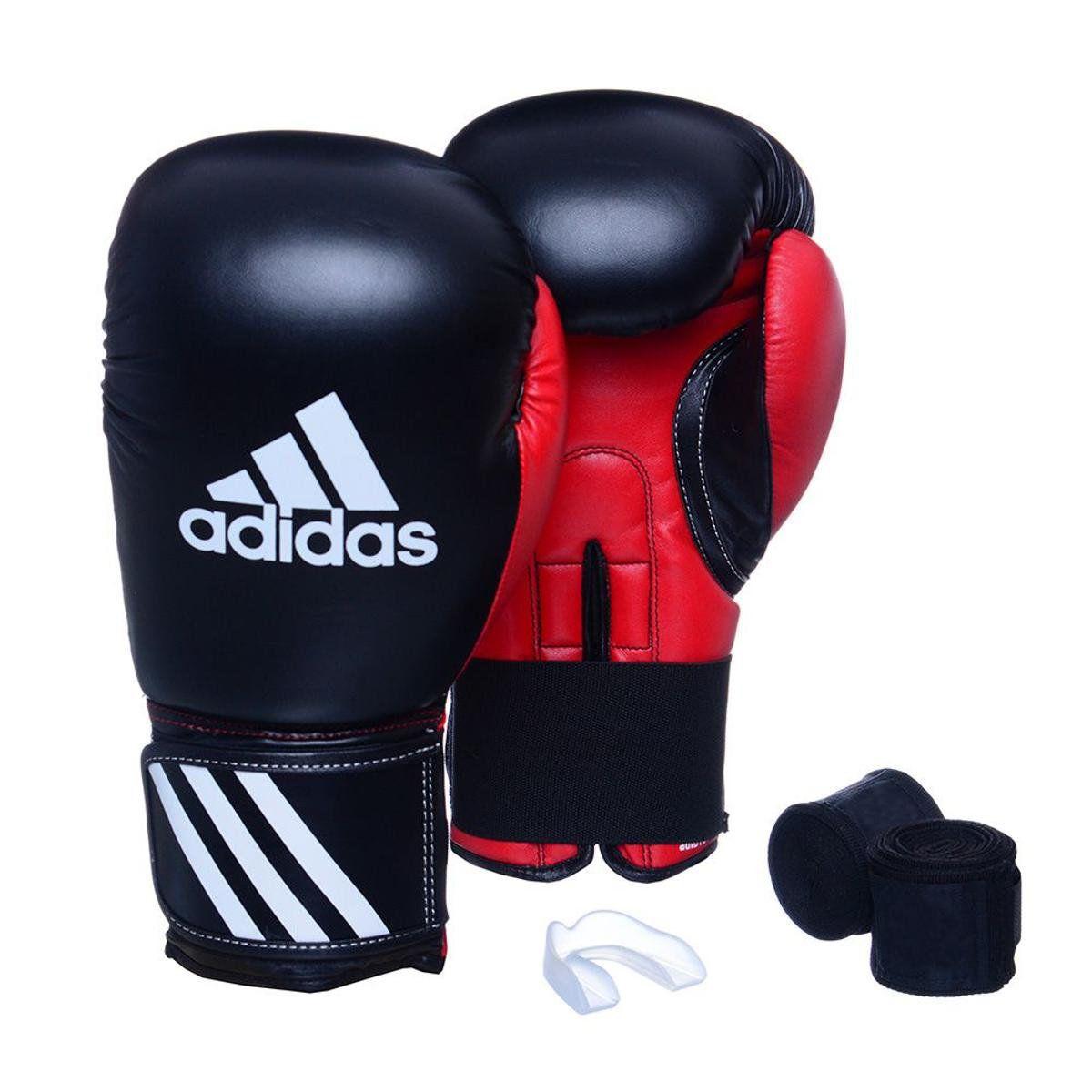 Kit Luvas Boxe / Muay Thai - Adidas Response - Preta / Verm - 10/12/14 OZ