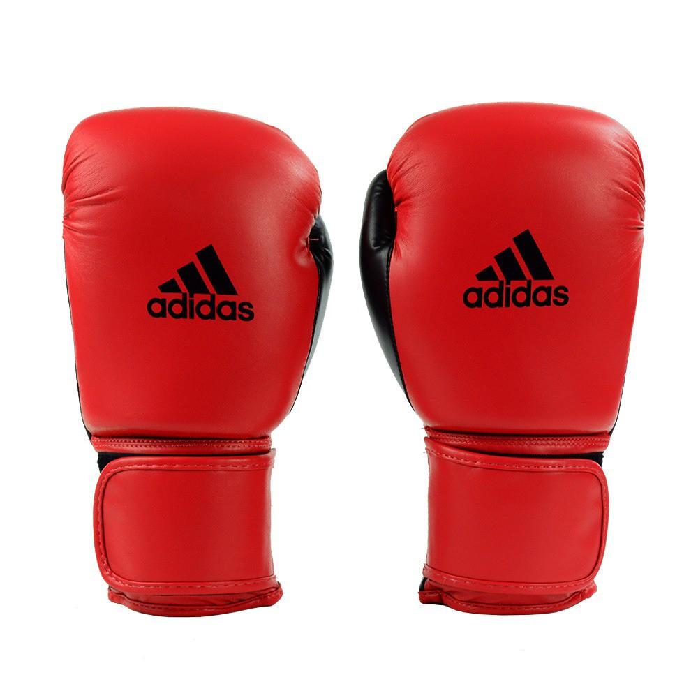 Kit Luvas Boxe Muay Thai - Adidas Power 100 - Preta / Verm - 12/14 OZ