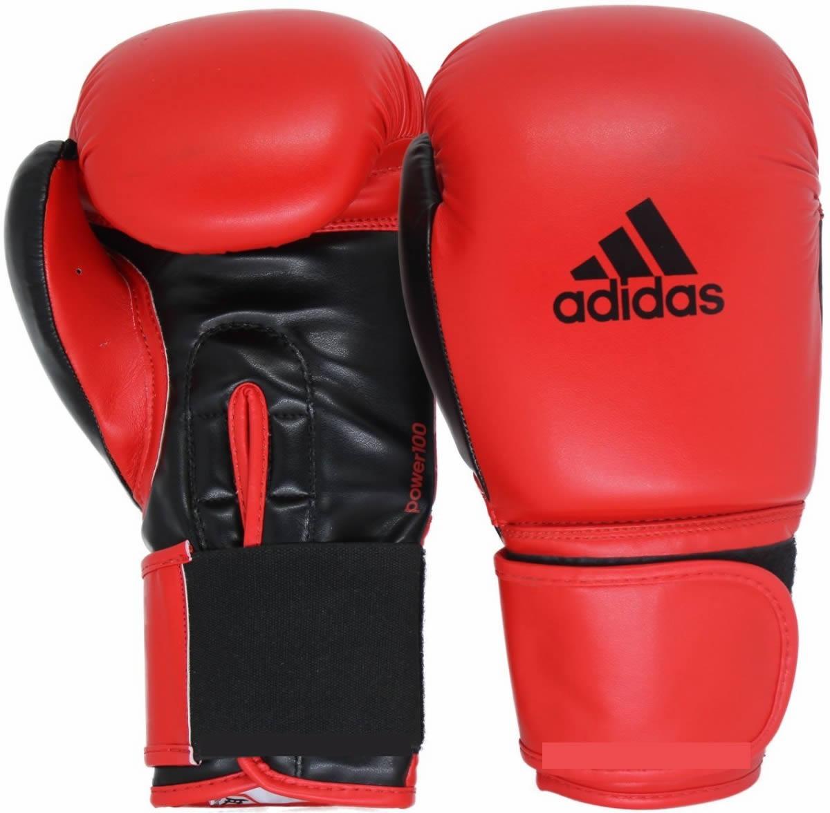 Kit Luvas Boxe Muay Thai - Adidas Power 100 - Preta / Verm - 12/14 OZ  - Loja do Competidor