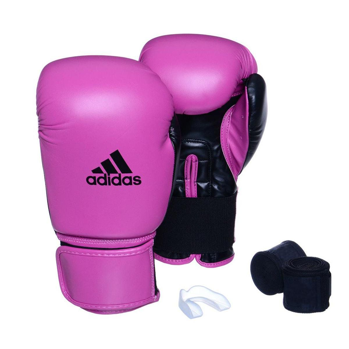 Kit Luvas Boxe / Muay Thai - Adidas Power 100 - Rosa - 10/12/14 OZ