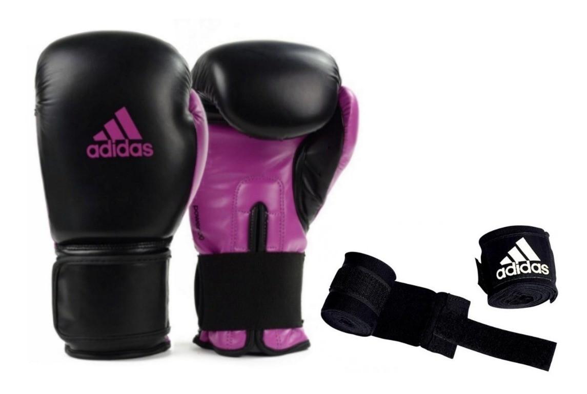 Kit Luvas Boxe Muay Thai - Adidas Power 100 - Preta/Pink - 10/12 OZ