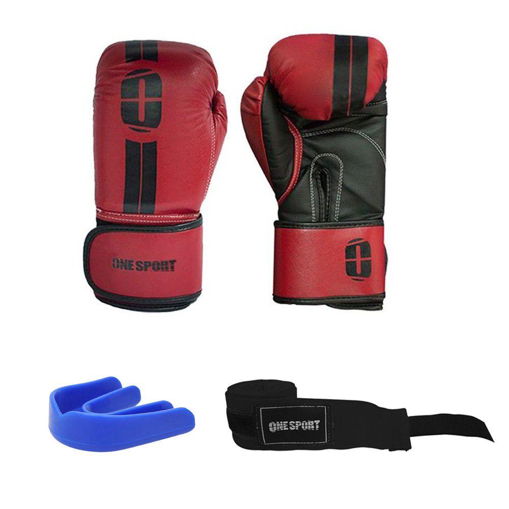Kit Luvas Boxe / Muay Thai - Elite - One Sport - Vermelho - 12/14 OZ .