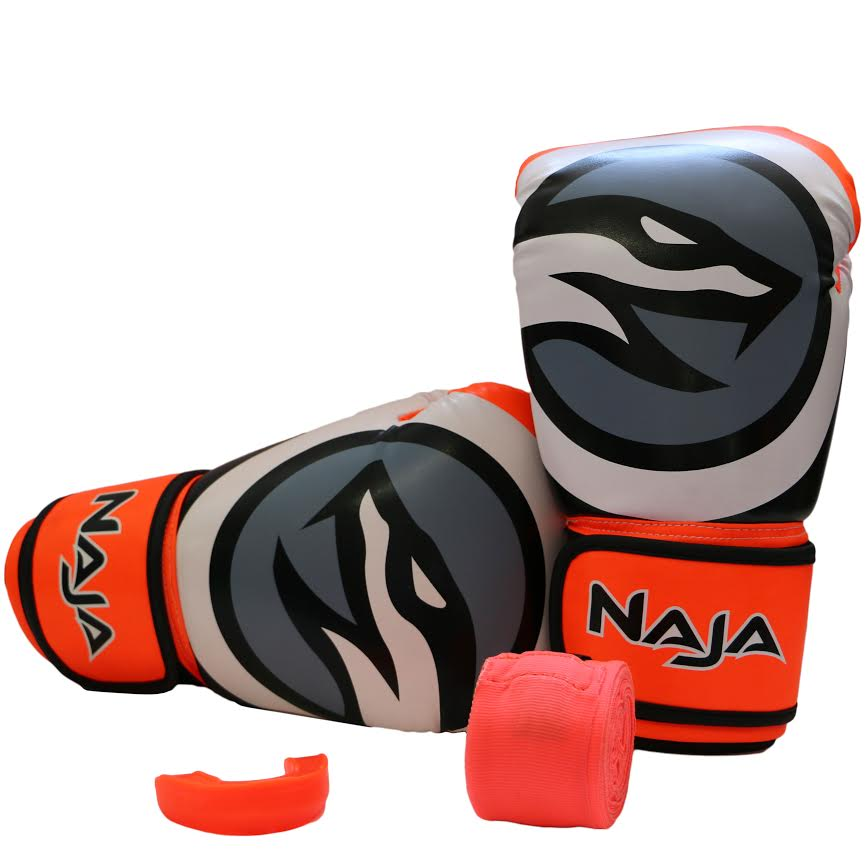 Kit Luvas Boxe / Muay Thai -  Naja Colors - Laranja - 14 OZ - ULTIMA UNID  - Loja do Competidor