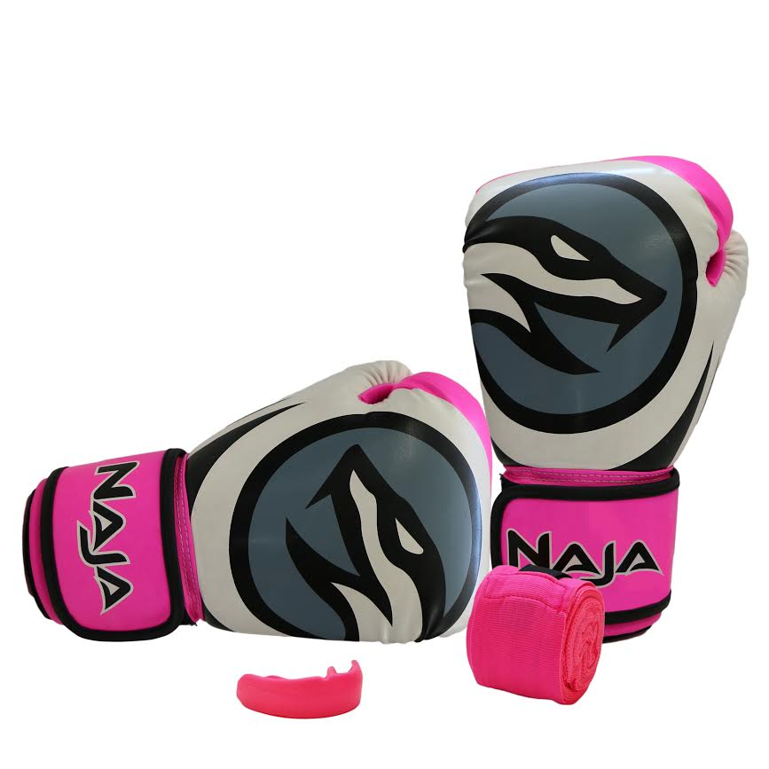 Kit Luvas Boxe / Muay Thai -  Naja Colors - Rosa - 14 OZ - ULTIMA UNID