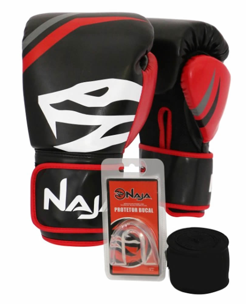 Kit Luvas Boxe Muay Thai - Naja First com Bandagem e Bucal - Preta - 10/12/14 OZ