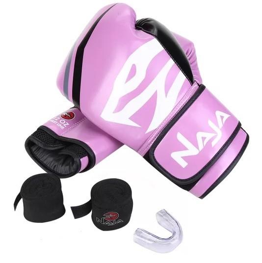 Kit Luvas Boxe Muay Thai - Naja First com Bandagem e Bucal - Rosa - 14 OZ