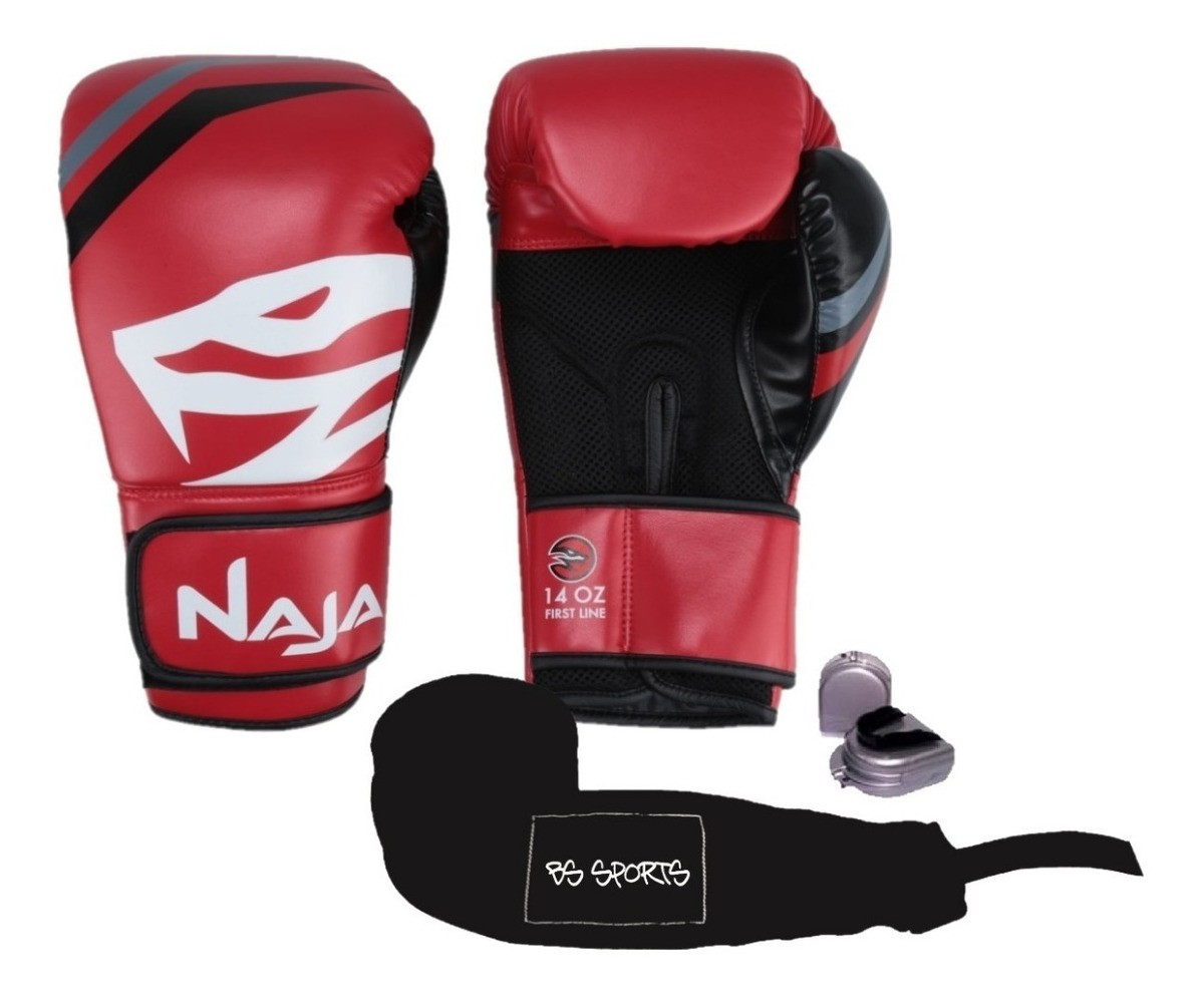 Kit Luvas Boxe Muay Thai - Naja First com Bandagem e Bucal - Vermelha - 10/12/14 OZ