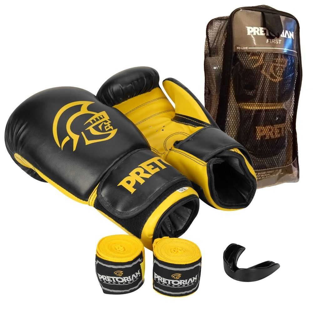 Kit Luvas Boxe / Muay Thai -  Pretorian First - Preto/Amarelo- 10/12/14 OZ