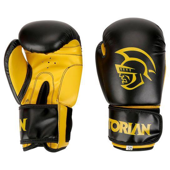 Kit Luvas Boxe / Muay Thai -  Pretorian First - Preto/Amarelo- 10/12/14 OZ  - Loja do Competidor