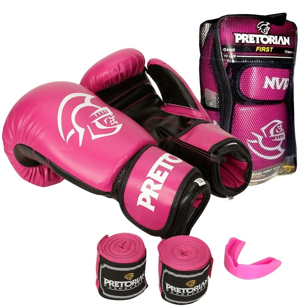 3dba912fb Kit Luvas Boxe   Muay Thai - Pretorian First - Rosa - 10 12 14 OZ ...