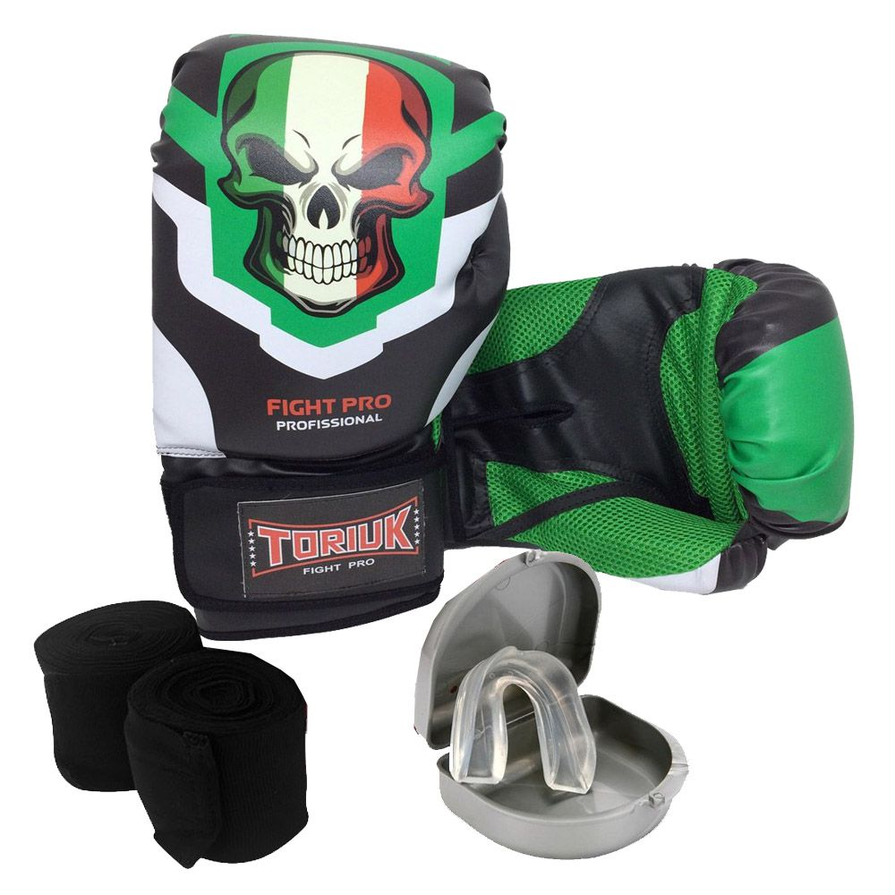Kit Luvas de Boxe Caveira Mexicana + Bandagem 3m + Bucal Superior