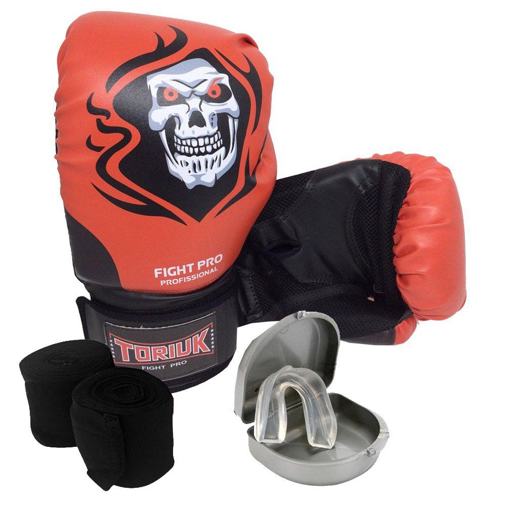 Kit Luvas de Boxe Elite Caveira Muerte + Bandagem 3m + Bucal Superior