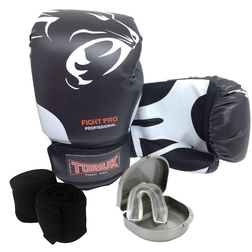 Kit Luvas de Boxe Elite Pantera + Bandagem 3m + Bucal Superior
