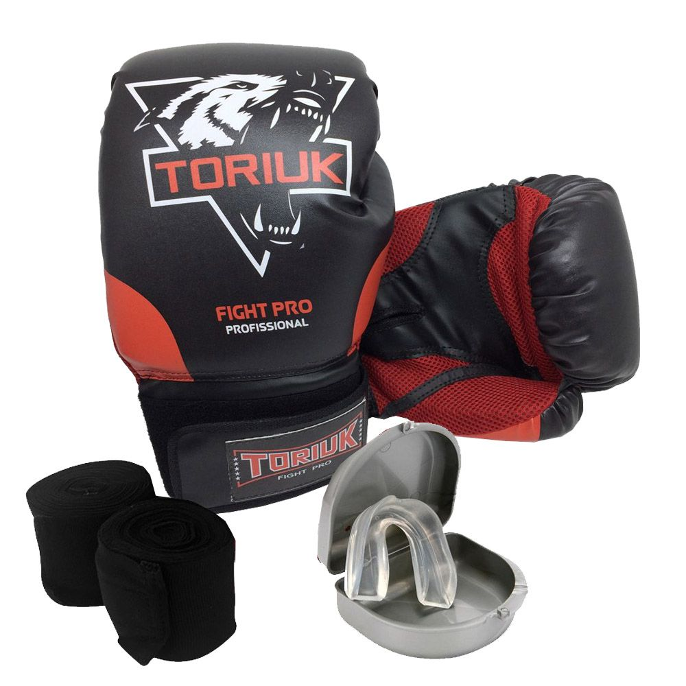 Kit Luvas de Boxe Lobo Elite + Bandagem 3m + Bucal Superior
