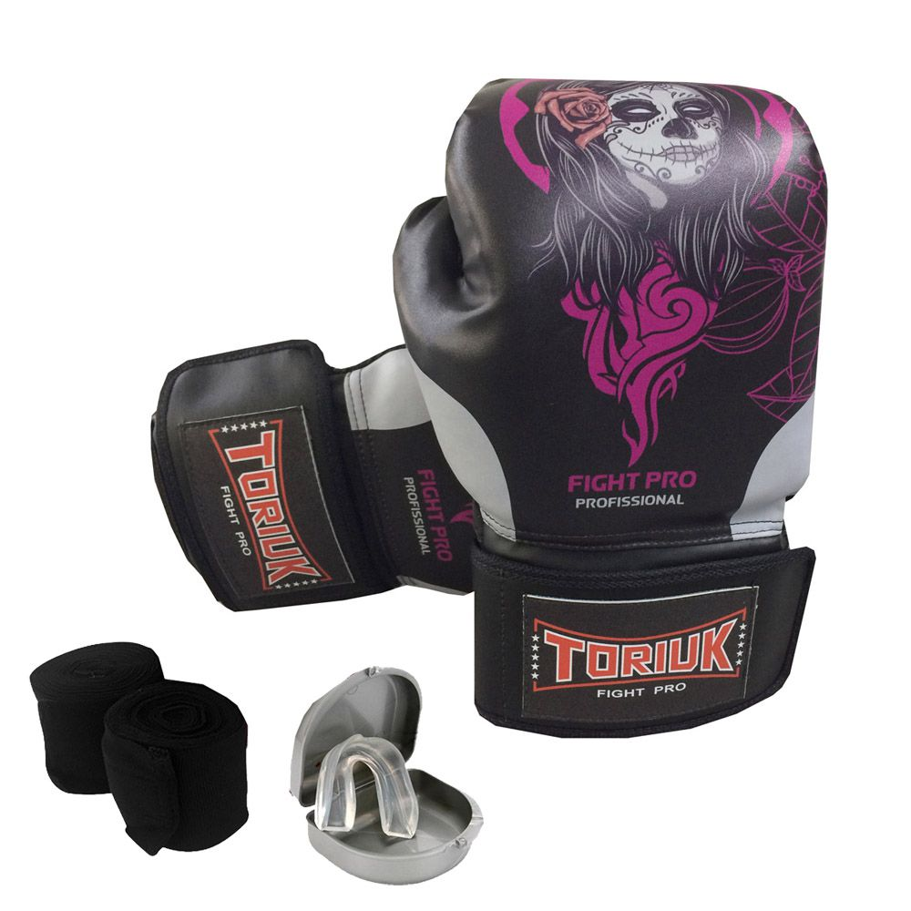 Kit Luvas de Boxe Elite Pro-  Skull Girl + Bandagem 3m + Bucal Superior