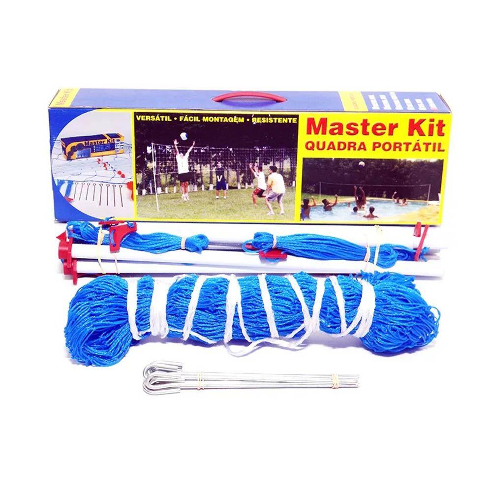 Kit Master Peteca Quadra - Portátil - 2 Mastros Com Rede - Pentagol