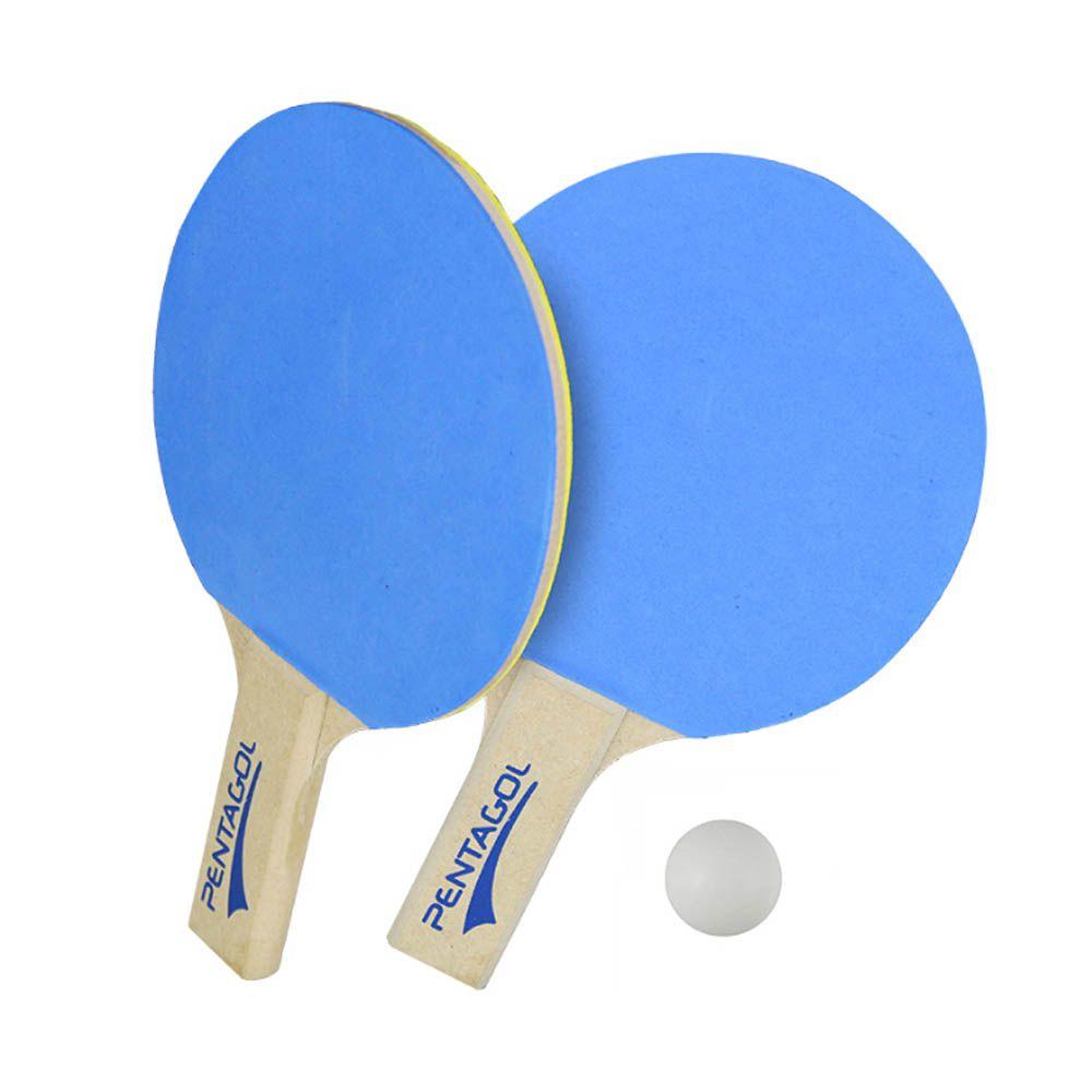 Kit Raquete Tenis de Mesa Ping Pong + Bola - EVA - Azul - Pentagol