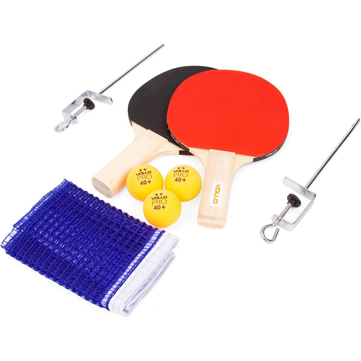 Kit Raquete Tenis de Mesa Ping Pong com 3 Bolas Rede e Suporte - Vollo