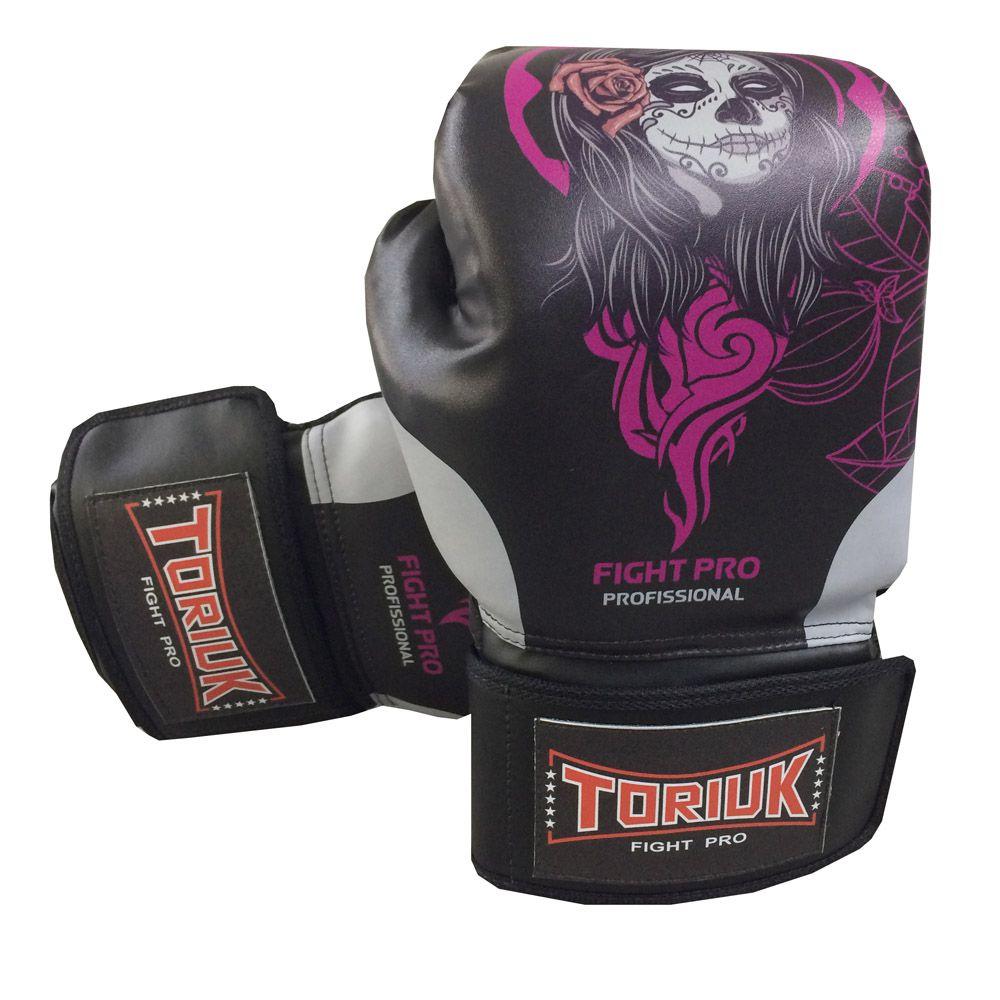 Luva de Boxe Muay Thai Elite Pro - Skull Girl - 08 a 16 OZ - Toriuk