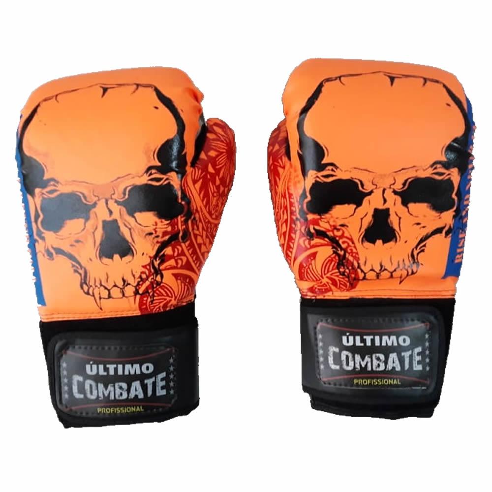 Luva de Boxe Muay Thai Orange Skull - 12/14 OZ - UC
