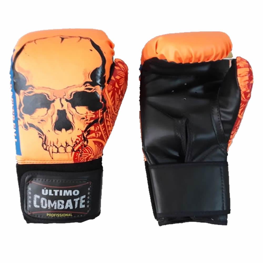 Luva de Boxe Muay Thai Orange Skull - 12/14 OZ - UC  - Loja do Competidor