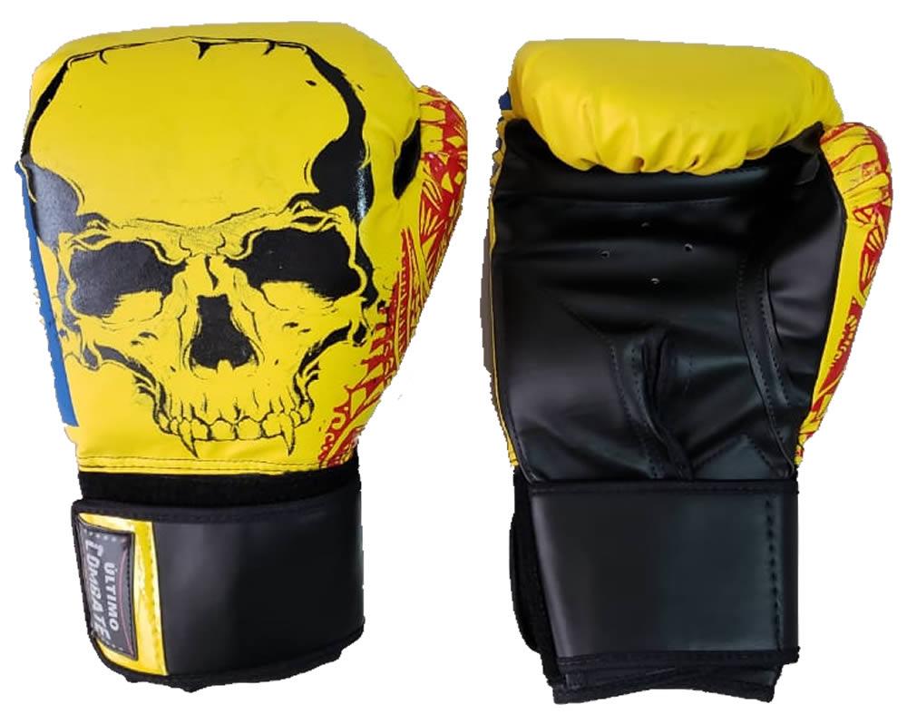 Luva de Boxe Muay Thai Yellow Skull - 12/ 14 OZ - UC  - Loja do Competidor