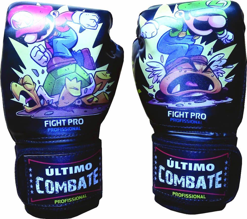 Luva de Kick Boxe Muay Thai - Infantil Kids - 08z - Irmãos Mario Bros