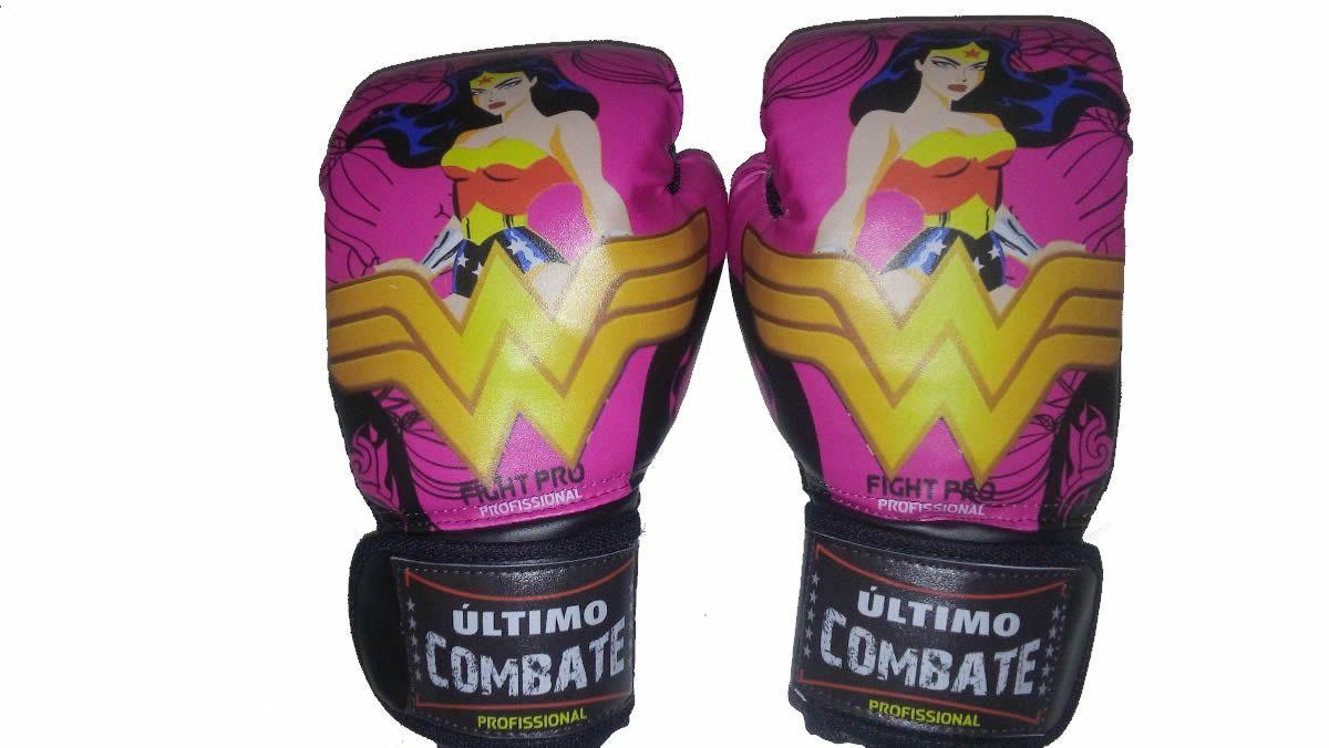 Luva de Kick Boxe Muay Thai - Infantil Kids Feminina - 08z - Mulher Maravilha