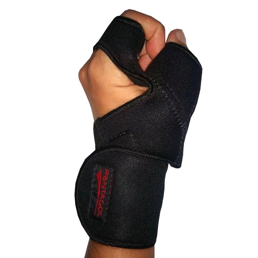 Luva para Musculação e Fitness com Munhequeira - Neoprene - Preto - Pentagol