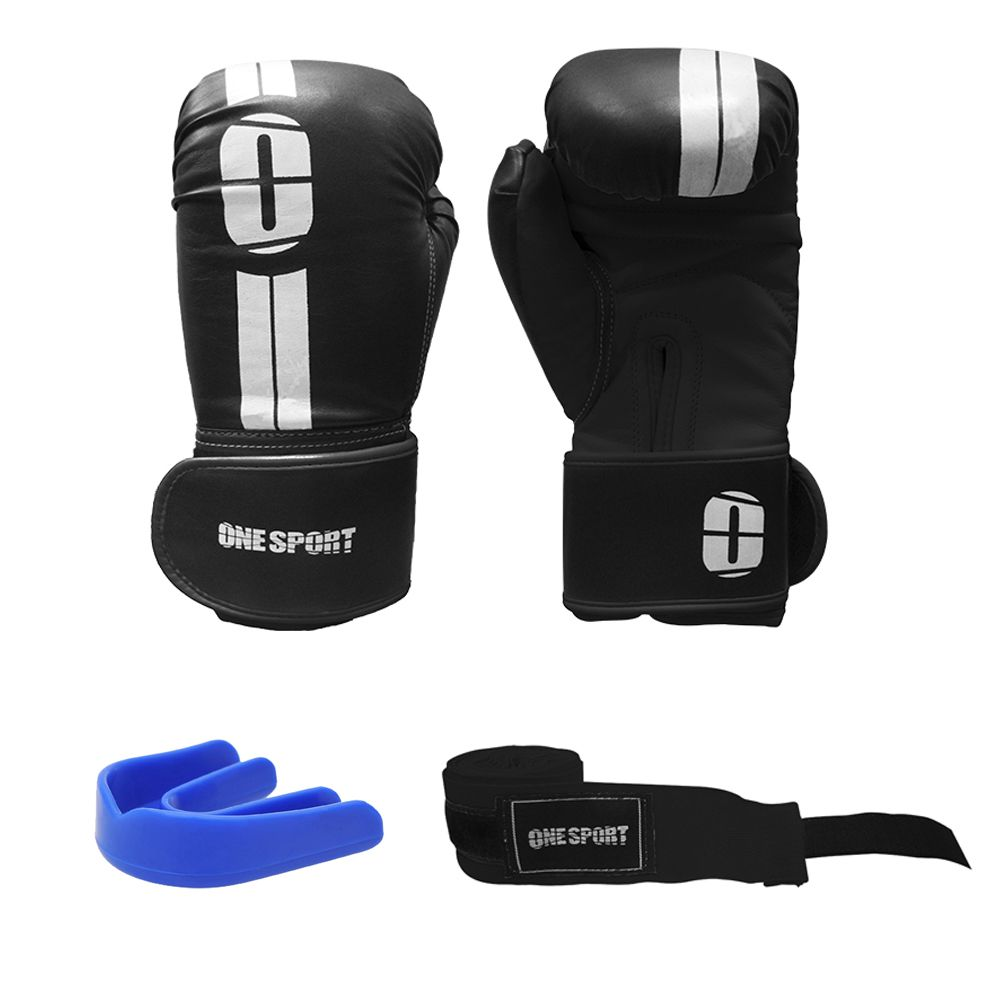 Kit Luvas Boxe / Muay Thai - Elite - One Sport - Preto - 12/14/16 OZ .