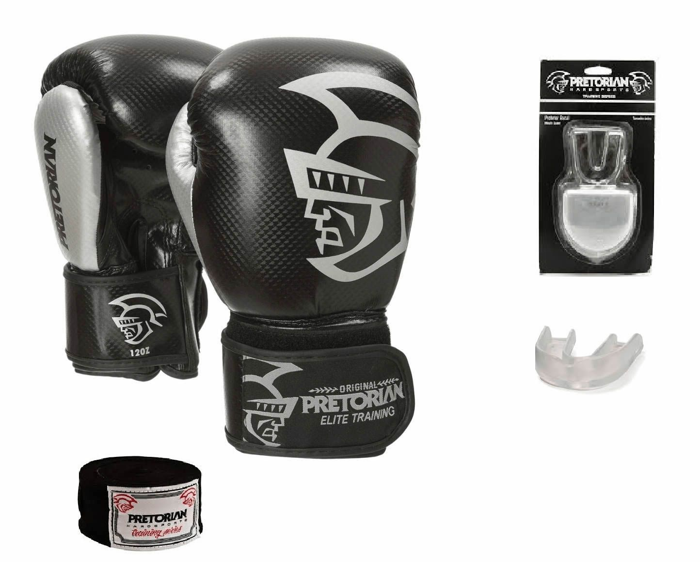 Luvas Boxe / Muay Thai - Elite Training - Preto/Prata - Pretorian - 12/14 OZ