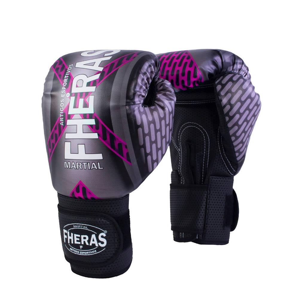 Luvas Boxe Muay Thai - Iron Rosa - Fheras - 10/ 12 / 14 OZ  - Loja do Competidor