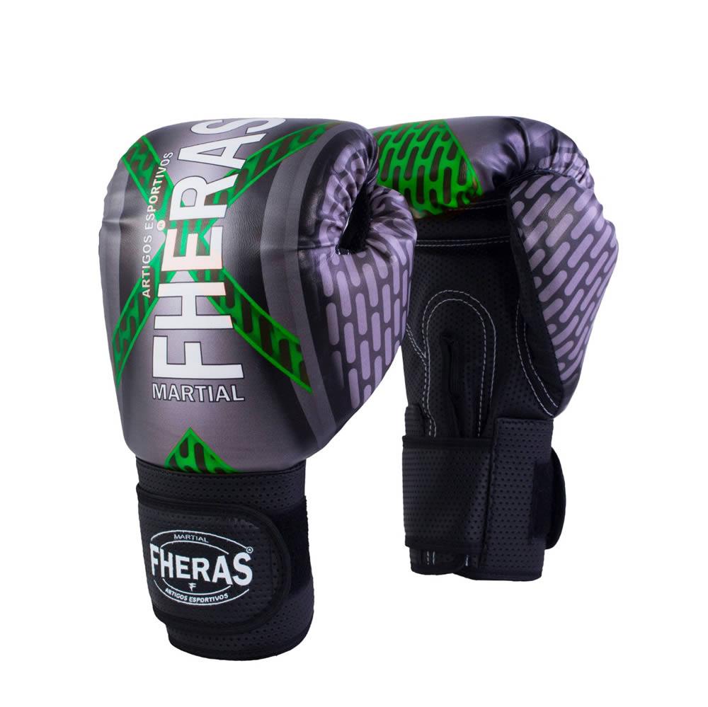 Luvas Boxe Muay Thai - Iron Verde - Fheras - 12 / 14 OZ