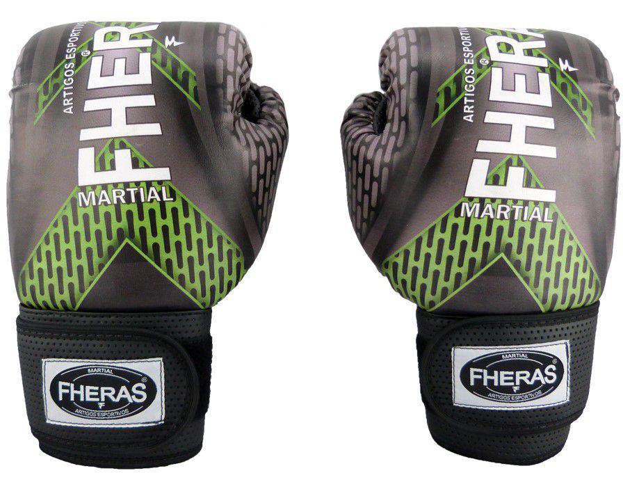 Luvas Boxe Muay Thai - Iron Verde - Fheras - 12 / 14 OZ  - Loja do Competidor