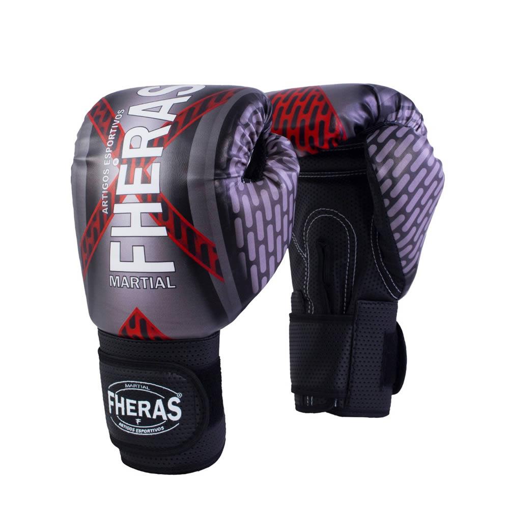 Luvas Boxe Muay Thai - Iron Vermelha - Fheras - 12 / 14 OZ