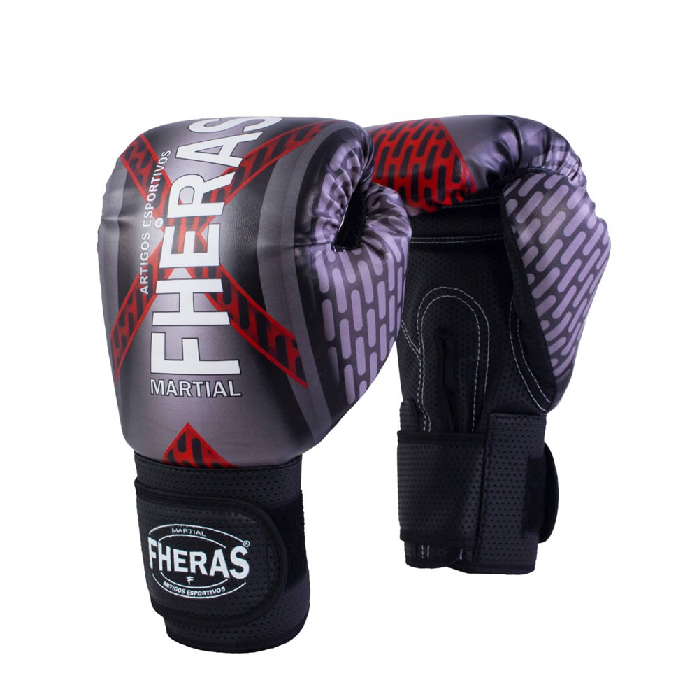 Luvas Boxe Muay Thai - Iron Vermelha - Fheras - 12 / 14 OZ  - Loja do Competidor
