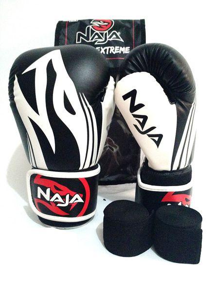 Luvas Boxe / Muay Thai - Naja Extreme com Bandagem - Preto - 12/14 OZ .