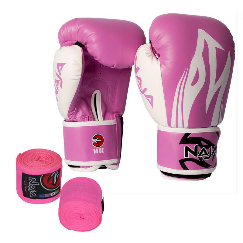 Luvas Boxe / Muay Thai - Naja Extreme com Bandagem - Rosa- 12/14 OZ -