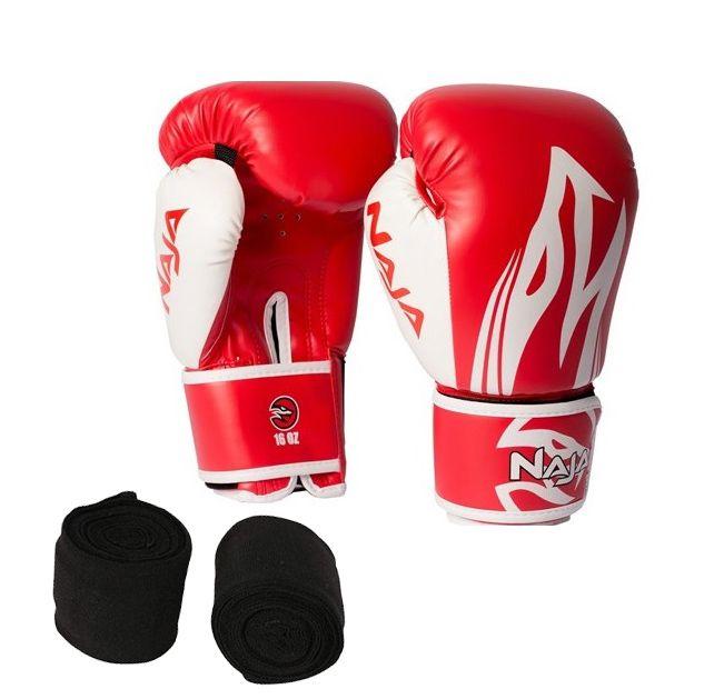 Luvas Boxe / Muay Thai - Naja Extreme com Bandagem - Vermelho - 12/14 OZ .