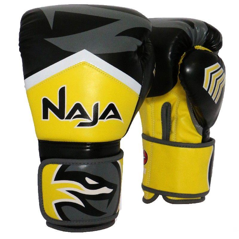 Luvas Boxe Muay Thai - Naja New Extreme - Preto/Amarelo - 12/14 OZ -